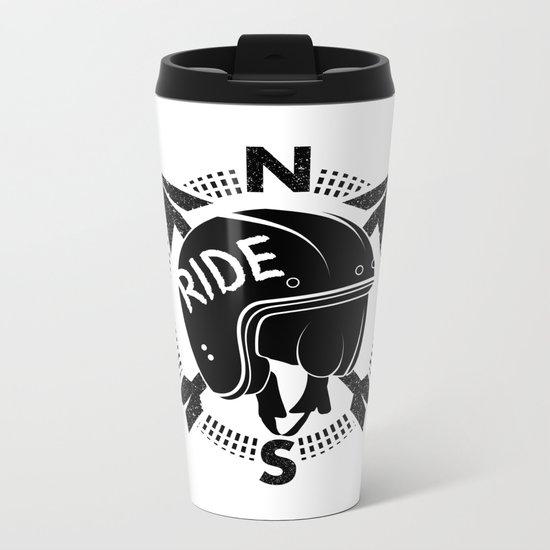 Motorcycle Helmet Metal Travel Mug