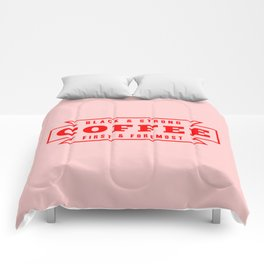 Coffee First in Red Comforters