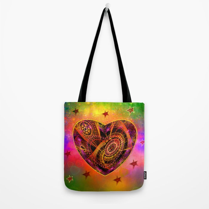Colourful magical heart with tribal patterns Tote Bag