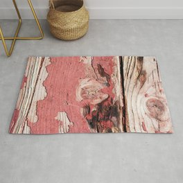 Nice Grunge Wooden Planks, Peeled Off Red Paint Rug