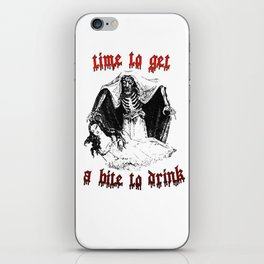 Vintage Vampire Skeleton Halloween Illustration  iPhone Skin