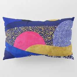 Terrazzo galaxy blue night yellow gold pink Pillow Sham