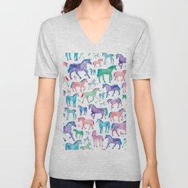 Pastel Unicorn Pattern Unisex V-Neck