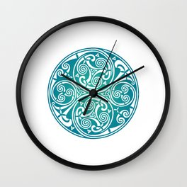 St. Patrick's Day Celtic Blue Mandala #3 Wall Clock
