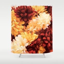 Autumn Bright Floral Bouquet in Scarlet and Gold Shower Curtain