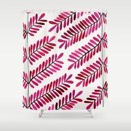 Pink Leaflets Shower Curtain