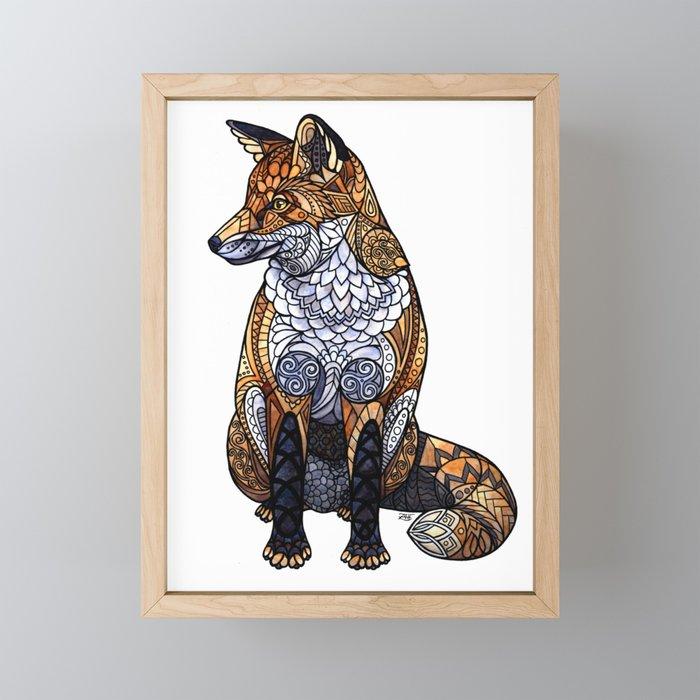 Stained Glass Fox Framed Mini Art Print