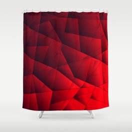 Bright contrasting red fragments of crystals on triangles of irregular shape. Shower Curtain