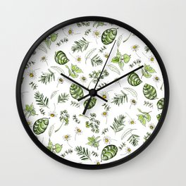 Scattered Garden Herbs Wall Clock