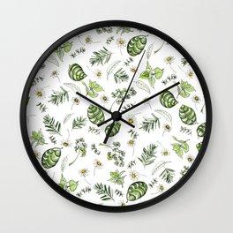 Scattered Garden Herbs Wall Clock