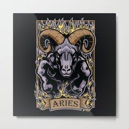 Aries Zodiac Sun Sign Ram Fire Astrology Metal Print