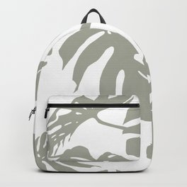Simply Retro Gray Palm Leaves on White Backpack