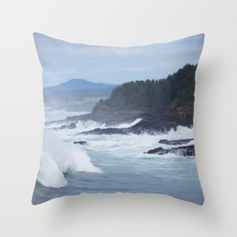 Crashing Waves In Blue Throw Pillow