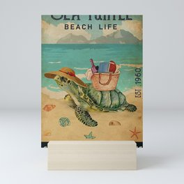 Beach Life Sandy Toes Sea Turtle gift Mini Art Print