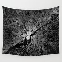 philadelphia Wall Tapestries featuring philadelphia map by Line Line Lines