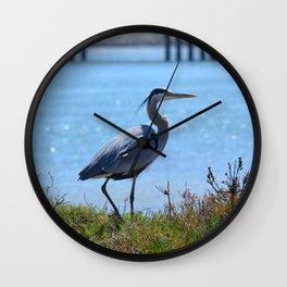 heron by the bridge Wall Clock
