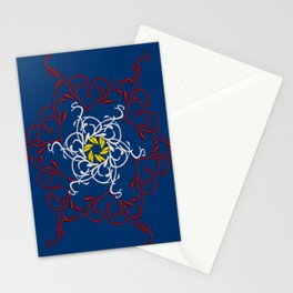 Mandala, Dark Teal, Red, White, Yellow Stationery Cards