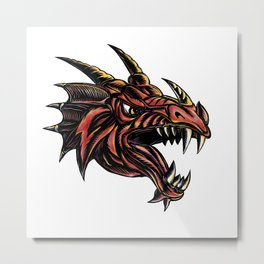 Angry Dragon Head Scratchboard Metal Print