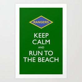 KEEP CALM AND RUN TO THE BEACH. Art Print
