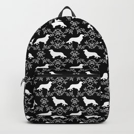 Cavalier King Charles Spaniel silhouette florals black and white dog breed gifts Backpack