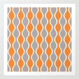Classic Retro Ogee Pattern 852 Orange and Gray Art Print