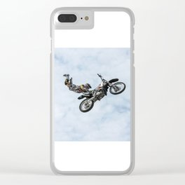 Motocross High Flying Jump Clear iPhone Case