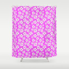 Purple Hawaiian Hibiscus Flowers Shower Curtain