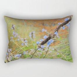 Autumn landscape with blue flowers Rectangular Pillow