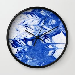 Shigeo - spilled ink abstract painting marble marbling india ink indigo blue bright modern minimal   Wall Clock