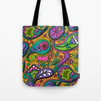 paisley Tote Bags featuring Paisley by Shelly Bremmer
