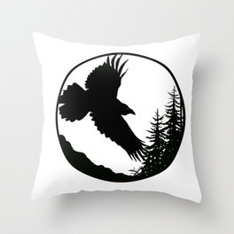 Raven & Forest circular silhouette Throw Pillow