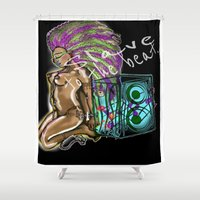 hip hop Shower Curtains featuring Hip Hop Music beat by Just Bailey Designs .com