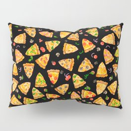 Watercolor Pizza Pattern Fast Food On Black Pillow Sham