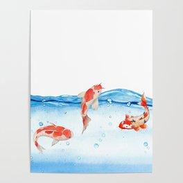 Happy koi fish- fishes sea water lake Poster
