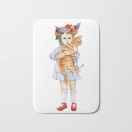 little girl with red cat Bath Mat