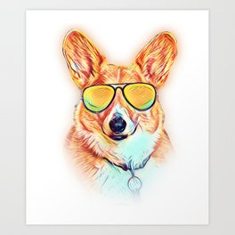 Pembroke Welsh Corgi Colorful Neon Dog Sunglasses Art Print