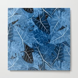 Classic Blue Tropical Leaves Metal Print