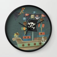 ships Wall Clocks featuring ships ahoy  by Monkey Buttons