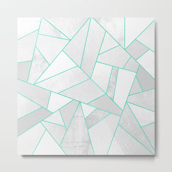 White Stone with Turquoise Lines Metal Print