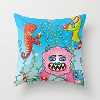 in the flesh Throw Pillows featuring Flesh and Teeth's by Teodoru Badiu