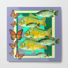 MONARCH BUTTERFLIES & FISH PURPLE ART Metal Print