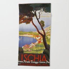 Ischia Island Italy summer travel ad Beach Towel