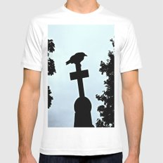 Pere-Lachaise Raven White MEDIUM Mens Fitted Tee