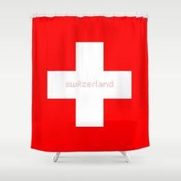 Swiss Cross - Swiss Flag Shower Curtain