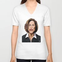 wes anderson V-neck T-shirts featuring Celebrity Sunday ~ Gillian Anderson by rob art | illustration