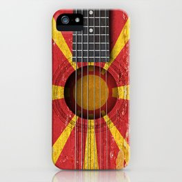 Old Vintage Acoustic Guitar with Macedonian Flag iPhone Case