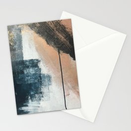 Honey 1: a pretty, minimal abstract in midnight blue, rose gold, and white Stationery Cards