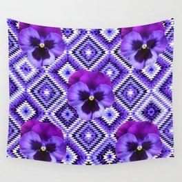 AFGHAN STYLE  PURPLE SPRING PANSIES  PATTERN ART Wall Tapestry