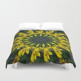 Large Yellow Wildflower Kaleidoscope Art 12 Duvet Cover