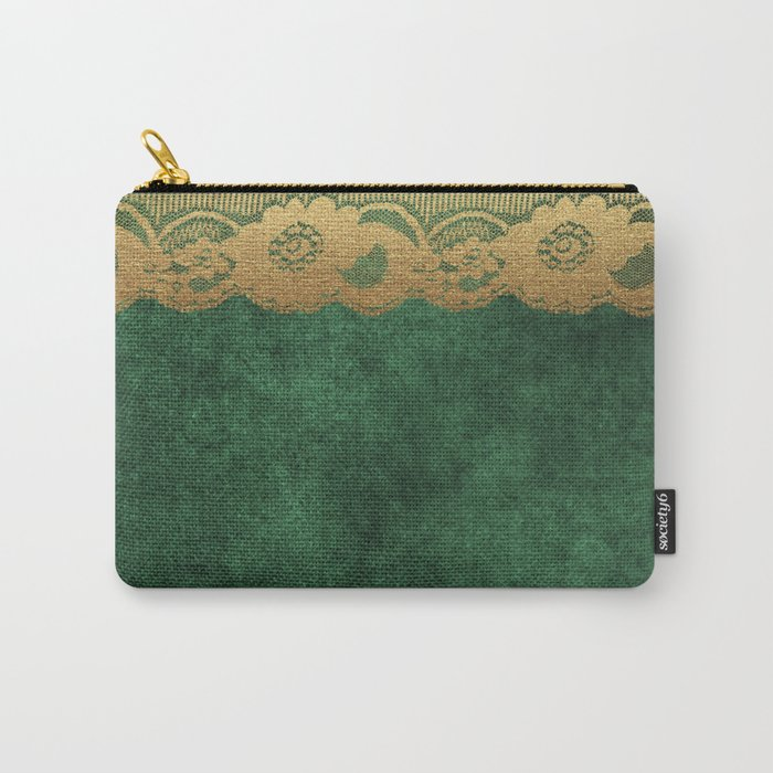 Green Lace Velvet 02 Carry-All Pouch